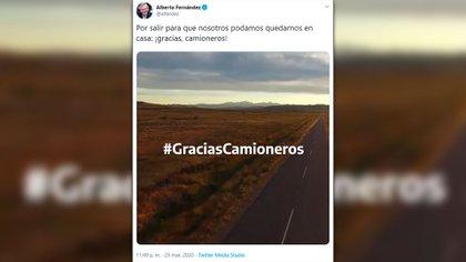 Alberto Fernández agradece en Twitter el trabajo de los camioneros