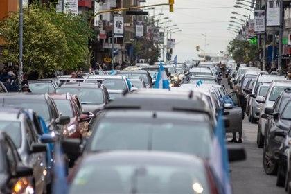 El banderazo tuvo lugar en todo el país, y por la pandemia, muchos manifestantes salieron en sus vehículos (Christian Heit)