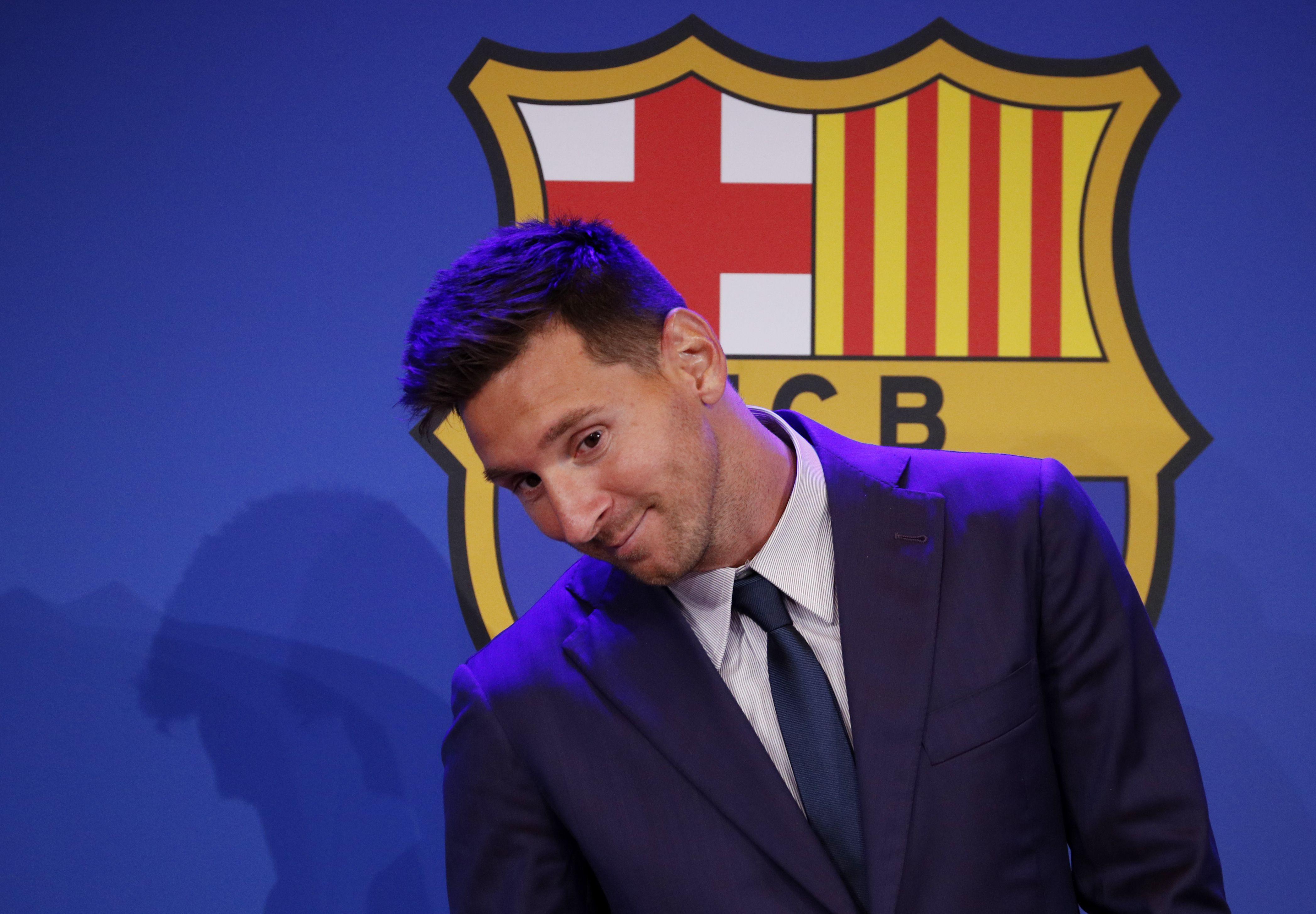 El Auditorium del Camp Nou fue el escenario elegido para que Lionel Messi se despidiera del Barcelona (REUTERS/Albert Gea)