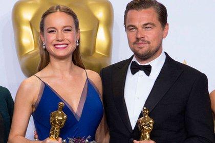 Cuando en 2015, a los 26 años, obtuvo el Oscar actoral. La acompaña Leo DiCaprio, vencedor masculino.
