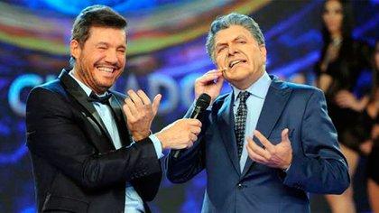 Marcelo Tinelli y Freddy Villlarreal, imitando a Mauricio Macri