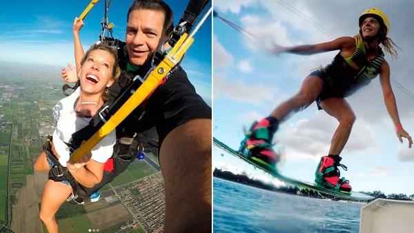 En su tiempo libre, disfruta de realizar deportes extremos como wakeboard y paracaidismo