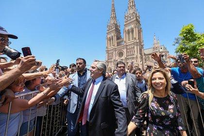 Alberto Fernández y Fabiola Yañez en Luján