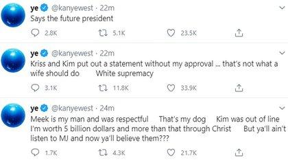 Los mensajes de Kanye West en Twitter con los que atacó a su esposa y su suegra (Foto: Twitter)
