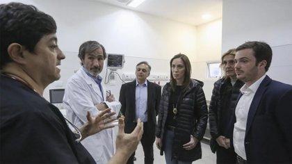 La gobernadora Vidal en el Hospital Interzonal de Agudos de Mar del Plata.