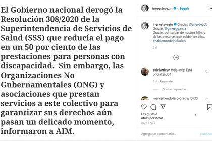 Inés agradeció públicamente al Gobierno Nacional por derogar el decreto (Foto: Instagram)