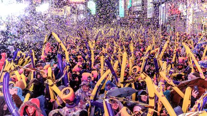 FILE -- Revelers celebrate the New Year's Eve ball drop at Times Square in Manhattan, Dec. 31, 2018. New Year's Eve 2019 is sure to see arguments over a particularly thorny topic: when, exactly, does a decade end, anyway? (Christopher Lee/The New York Times)