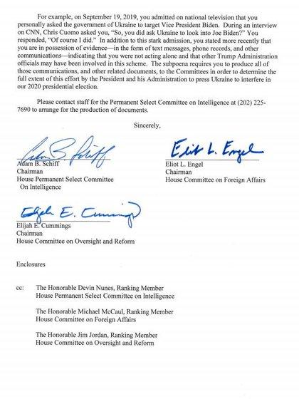 El documento de citación enviado a Rudolph Giuliani