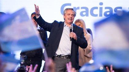 Alberto Fernández, en la celebración de la victoria