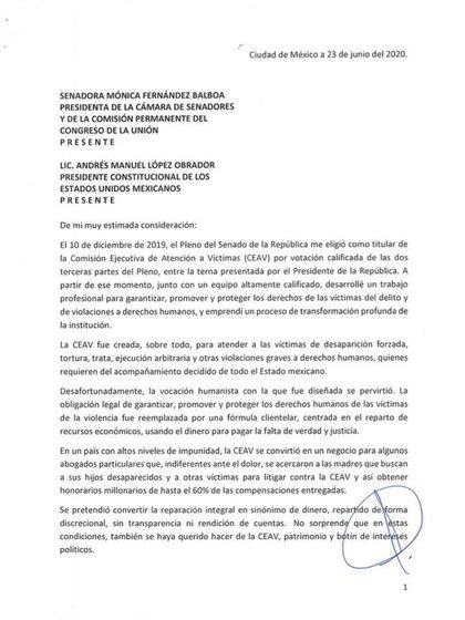 Primera parte de la carta de renuncia de Mara Gómez (Foto: Cortesía)