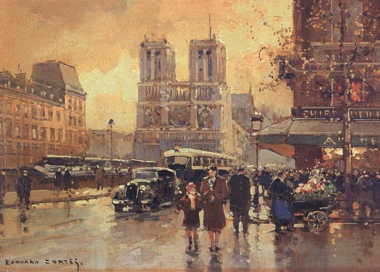 """""""Plaza Saint Michel, Notre Dame"""" (1949) Edouard Cortes"""