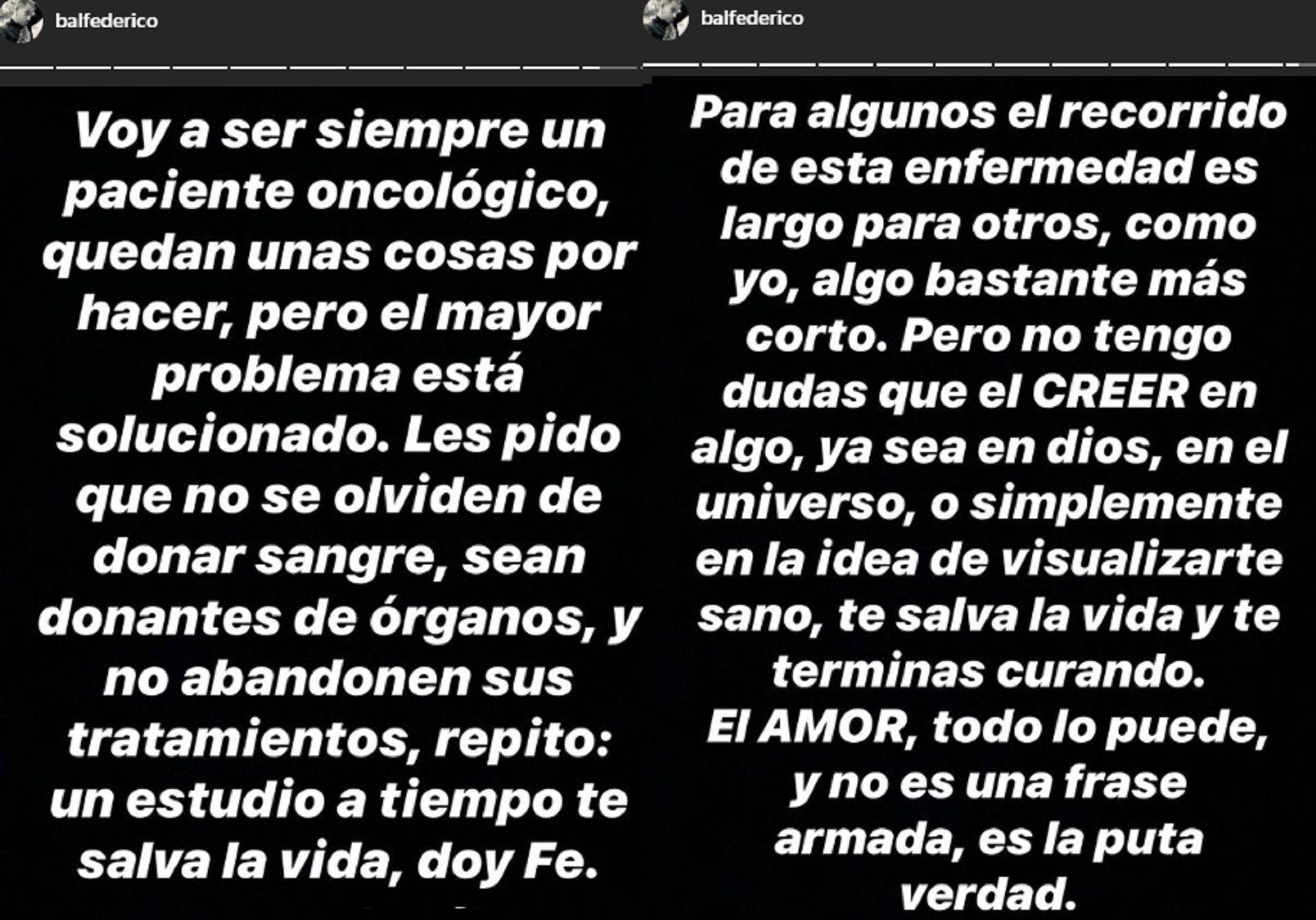 El mensaje de Fede Bal en su Instagram Stories