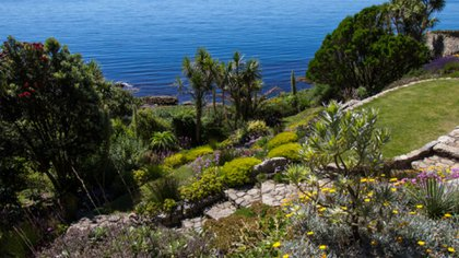 Vista panorámica de los jardines del castillo
