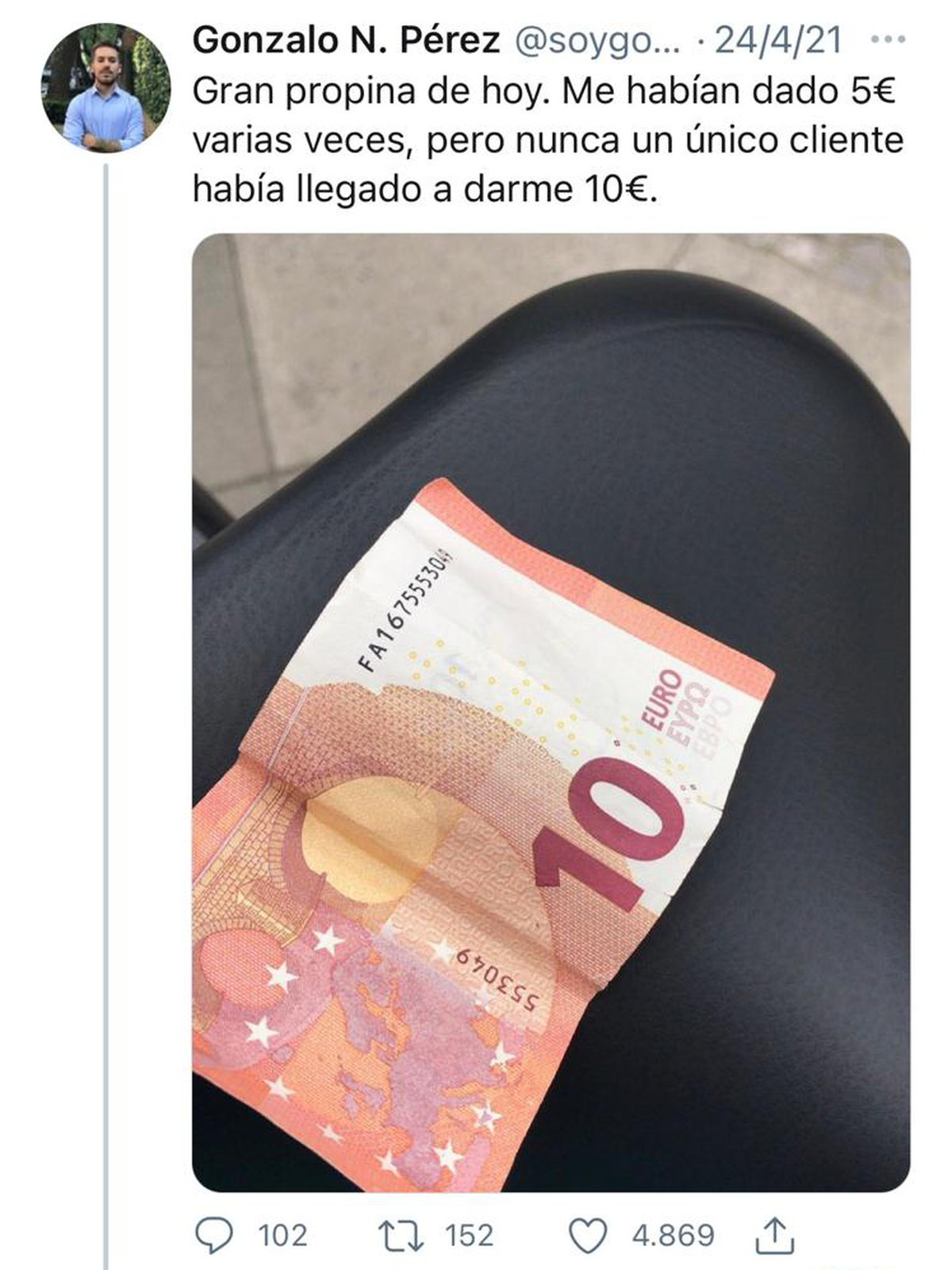 Su récord: Gonzalo llegó a recibir 10 euros de propina
