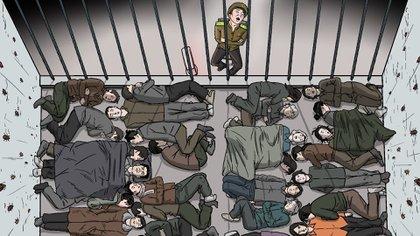 Ilustración de las cárceles en Corea del Norte (Human Rights Watch)