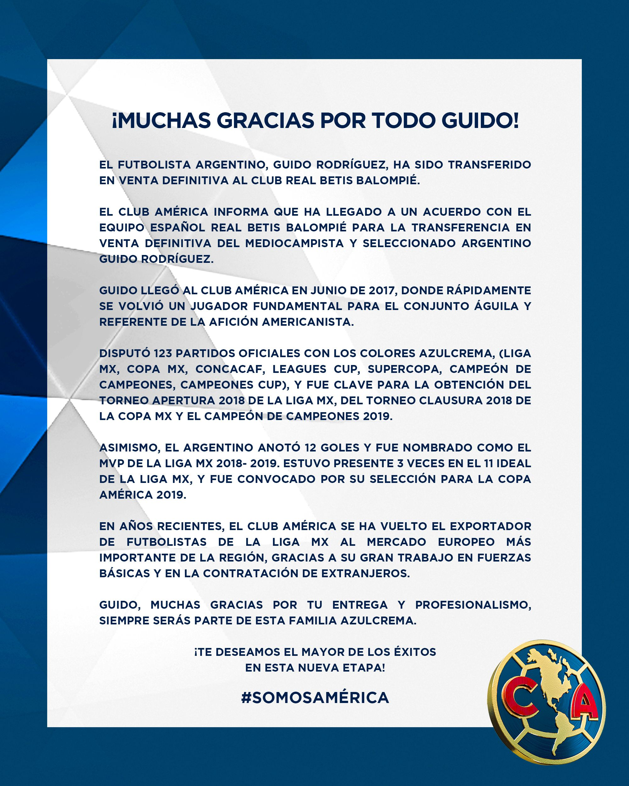 América se despidió de Guido Rodríguez en un comunicado (Foto: Twitter @ClubAmerica)