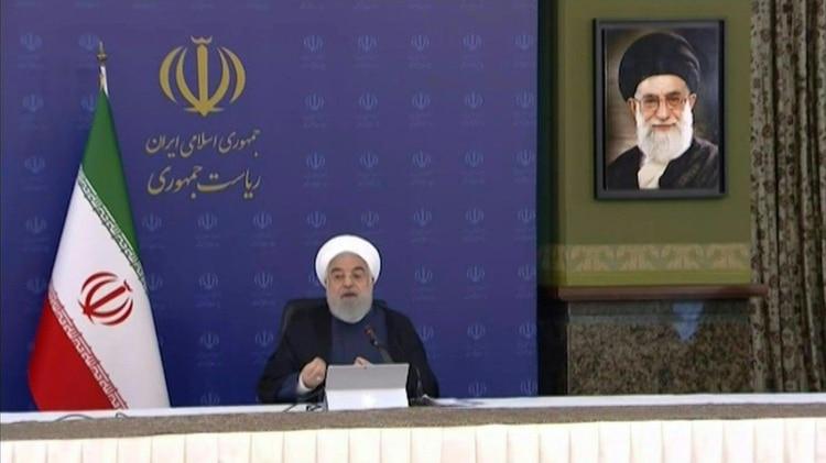 El presidente iraní, Hasan Rohani, en un mensaje desde Teherán el miércoles