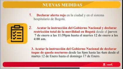 Restricción de la movilidad en Bogotá desde el jueves 7 de enero a las 11:59PM hasta el martes 12 de enero a las a 4 AM. Crédito: Alcaldía de Bogotá.