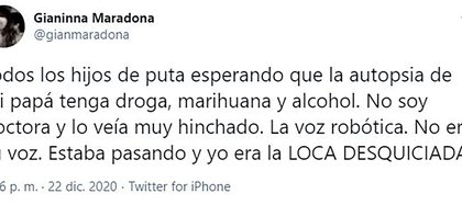El furioso tweet de Gianinna Maradona