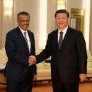 Tedros Adhanom, director general de la OMS, se da la mano con el presidente chino Xi Jinping antes de una reunión en el Gran Salón del Pueblo en Pekín, China, 28 enero 2020. Naohiko Hatta/Pool vía REUTERS/