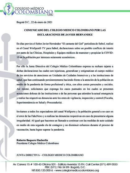 Colegio Médico Colombiano expresó su rechazo ante las declaraciones en vivo del relator de fútbol colombiano, Javier Fernández Franco / (Twitter: @ColegioMedicoCo).