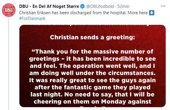 tweet alta médica Christian Eriksen