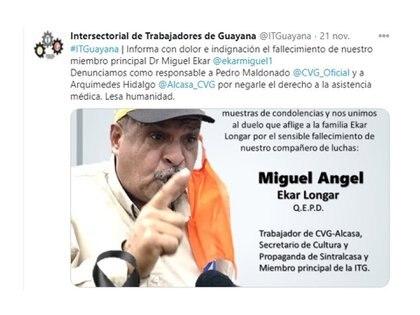 Dirigente sindical Miguel Angel Ekar murió el 21 de noviembre 2020