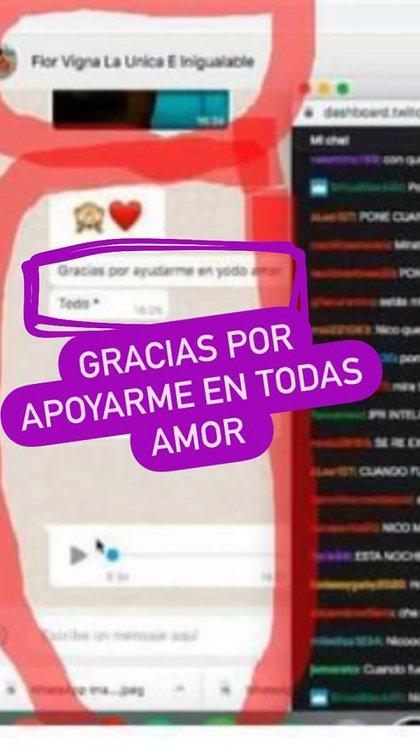 El mensaje que Flor le envió a Nico (Foto: Instagram)