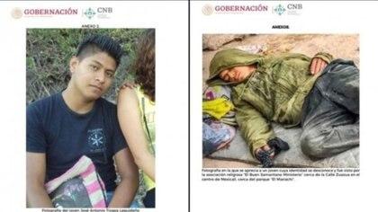 Una foto (izquierda) de José Antonio Tizapa Leguideño y ala derecha otra de un joven en situación de calle que compartiría rasgos físicos similares y que fue visto en Mexicali, Baja California Foto: Gobierno BC