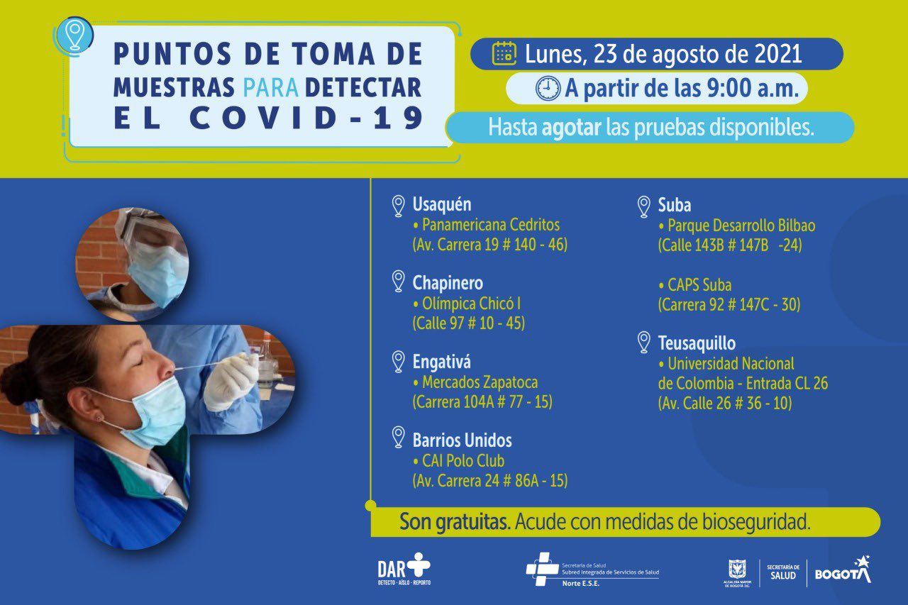 Pruebas covid-19 gratis en Bogotá
