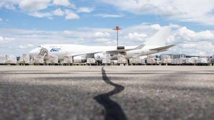 "Relief supplies of the ""Humanitarian Help of Switzerland"" wait to be loaded onto a Boeing 747-400BCF cargo plane bound for Venezuela amid the novel coronavirus pandemic at Zurich Airport, Switzerland June 18, 2020. Picture taken June 18, 2020. Ennio Leanza/Pool via REUTERS"