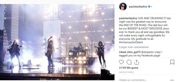 Paul Stanley posteó un mensaje de despedida de la banda tanto en Twitter como en Instagram