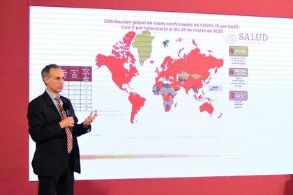 López-Gatell reconoció que hay cinco casos hasta ahora en los que no hay antecedentes identificables de importación (Foto: Cortesía)