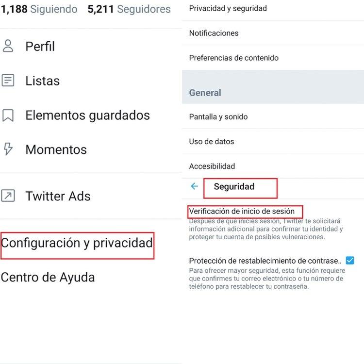 Configuración del segundo factor de autenticación en Twitter