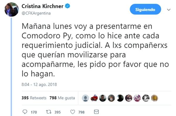 (Twitter: @CFKArgentina)