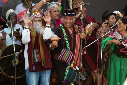 El discurso de Evo Morales estuvo precedido por una ofrenda a la Pachamama (Franco Fafasuli)