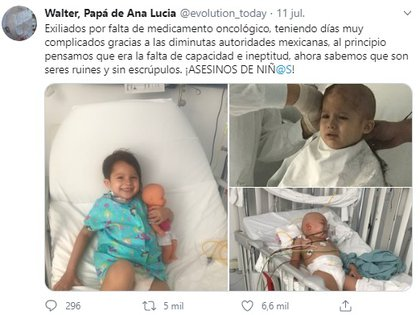 Ana Lucía tuvo que viajar a Zúrich con su padre para recibir tratamiento oncológico ante el desabasto de medicinas (Foto: Twitter Walter, Papá de Ana Lucía @evolution_today)