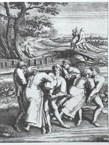 """""""Coreomanía en una peregrinación a la Iglesia de Sint-Jans-Molenbeek"""", grabado de Hendrick Hondius (1642) a partir del dibujo de Pieter Brueghel 'el Viejo'"""