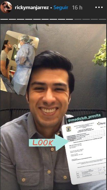 Ricky mostró una imagen de su test