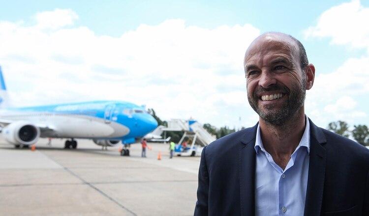Guillermo Dietrich, en la presentación de los Boeing 737 Max. Hoy expresó su preocupación en el gobierno por los últimos accidentes (Agustín Marcarian)
