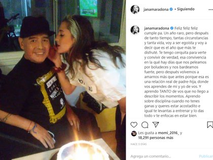 El mensaje de amor de Jana Maradona a su papá en el día de su cumpleaños