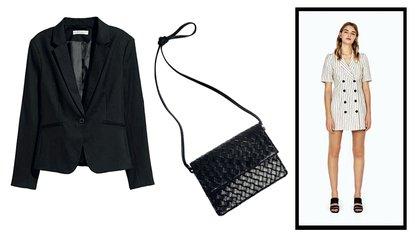 En versión low cost: vestido Bershka ($1.180), blazer H&M ($704) y bandolera Top Shop ($1.107).