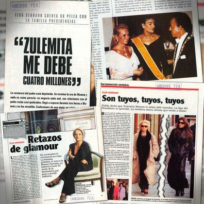 La disputa por las deudas del Estado con Elsa Serrano, en los medios de la época (Gentileza Archivo Tea y Deportea)