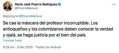 Trino de María José Pizarro acerca de la imputación de la Contraloría en caso Hidroituango.