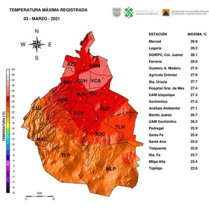 Máximas temperaturas registradas en la CDMX durante el 03 de marzo de 2021 (Foto: Tweet/@SGIRPC_CDMX)