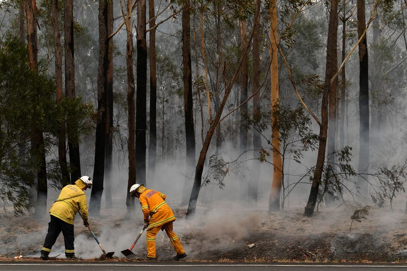 Voluntarios del Servicio de Bomberos Rurales (RFS) y funcionarios de Bomberos y Rescate de NSW contienen un pequeño foco de incendio forestal que cerró la autopista Princes Highway, al sur de Ulladulla, Australia.