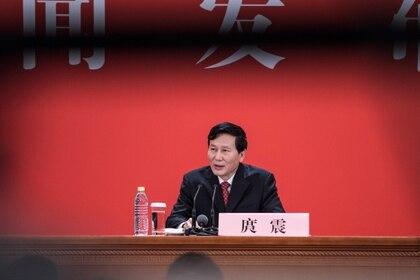 Tuo Zhen, vocero y vicedirector del Departamento de Propaganda del Partido Comunista de China durante la conferencia de Prensa (AFP)