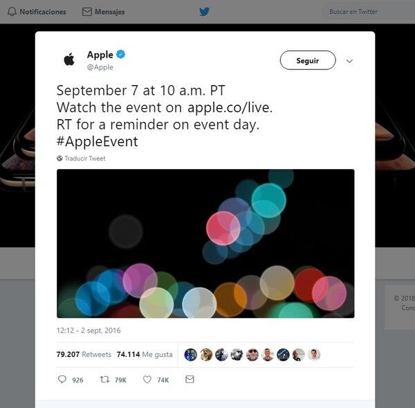 Los primeros tuits promocionales de Apple se vieron en 2016 antes del lanzamiento del iPhone 7.