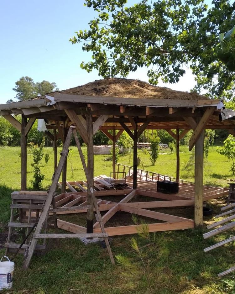 Una casa en las afueras de La Plata, un hexágono con dos extens iones, techo vivo recíproco y piso flotante de fenólicos