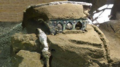Una gran carroza ceremonial de cuatro ruedas fue hallada en el área arqueológica de Pompeya (sur de Italia). EFE